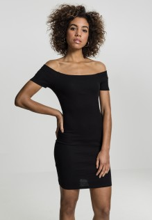 Ladies Off Shoulder Rib Dress Lucy